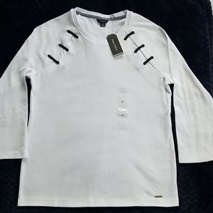 Nautica 100% cotton Bright White 3/4 Sleeve